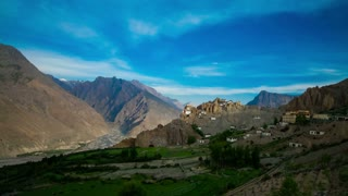 4K Timelapse Dhankar gompa. Spiti Valley, Himachal Pradesh, India