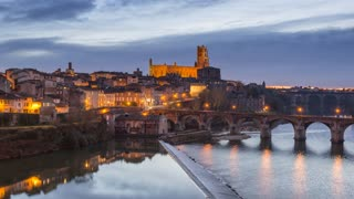 4K Timelapse Sequence of Albi, France - Albi during the Blue Hour