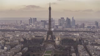 4K Timelapse Sequence of Paris, France - The Eiffel Tower before the Sunset
