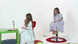8 Year Old Twins Taking Turns Putting on Makeup