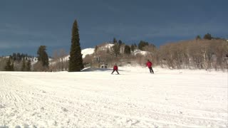 A Father And Son Ski Down A Bunny Hill