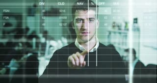 A young well dressed businessman behind the screen with waveform lines expressed concept of stock market, growth stock market, economic profits, stock exchange