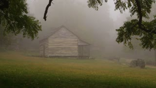 Foggy Log cabin in the woods