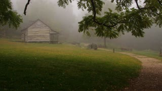 Log cabin in the foggy woods 3