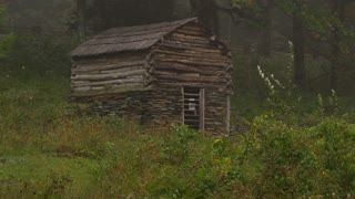 Log cabin in the woods wind