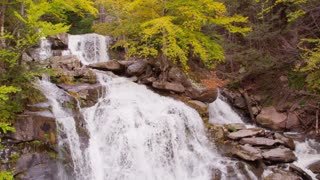 Vibrant fall foliage waterfall autumn Catskills NY