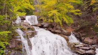 Vibrant fall foliage waterfall autumn 2