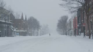 Wide Shot of M Street in Georgetown During Washington DC Winter Blizzard 2