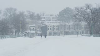 View Across Key Bridge towards Georgetown During Washington DC Winter Blizzard