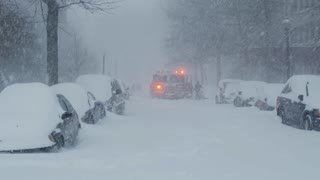 Fire Truck Stuck in Snow During Washington DC Winter Blizzard 2