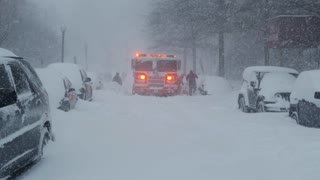 Fire Truck Stuck in Snow During Washington DC Winter Blizzard