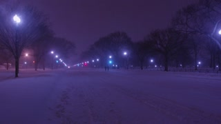 Washington DC Winter Blizzard at Night on Constitution