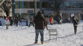 Big Snowball fight in city