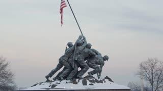 Iwo Jima Marine Corps War Memorial in Winter Close