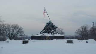 Snow Covered Iwo Jima Marine Corps War Memorial in Winter