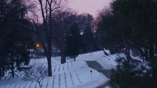 Snow Covered Arlington Cemetery in Winter Sunset