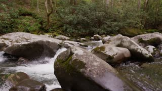 Creek waterfall in Great Smoky Mountains National Forest dolly slider left