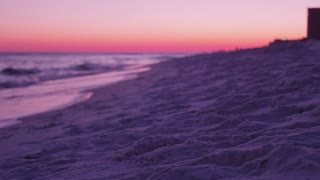 Vibrant beach sunset in Destin Florida dolly slider left close