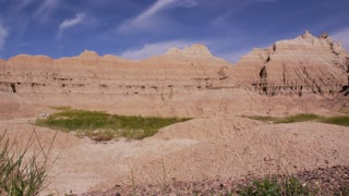Grass blowing in slight breeze in Badlands National Park