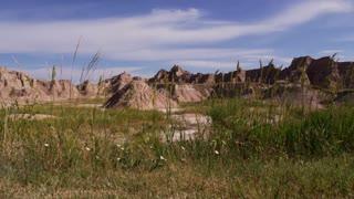 Slider shot of Badlands National Park movement right