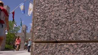 Mount Rushmore Slider Shot through tourists visiting Mt. Rushmore 2