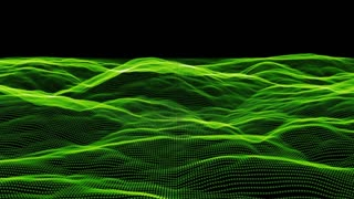 Organic mounds of green light rotate frontwards on a black screen (Loop)