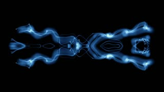 Kaleidoscopic blue light waves undulate and move in on each other on a black screen (Loop)