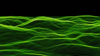 Organic mounds of green light roll forwards on a black screen (Loop)