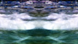 Stylized kaleidoscopic ocean waves undulate into each other (Loop)