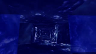 Traveling down a labyrinth of blue water walls (Loop)