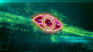 Abstract animation of eye icon in digital cyberspace