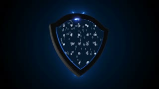 Abstract background with Security Shield. Cyber Background. 3d rendering. Seamless loop