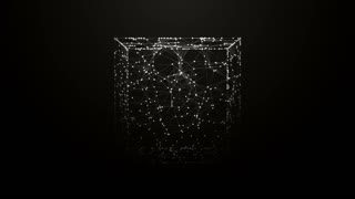 Abstract geometric composition from chaotic slow moving dots and lines are placed in the cube in dim light 4K