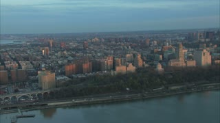 Aerial Along NYC River 2