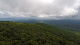 Aerial Appalachian Mountains Cloudy Day Backwards