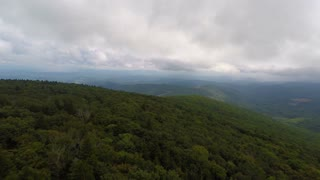 Aerial Appalachian Mountains Cloudy Day Flying Backward