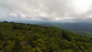Aerial Appalachian Mountains Cloudy Day Flying Right to Left