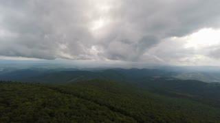 Aerial Appalachian Mountains Storm Flying Backwards