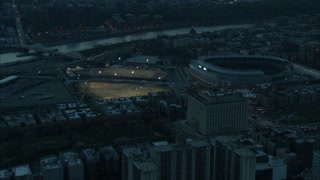 Aerial Approaching Yankee Stadium at Dusk