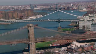Aerial Circling Brooklyn Bridge