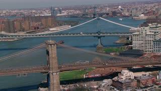 Aerial Circling Brooklyn Bridge
