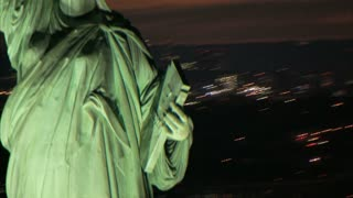 Aerial Circling Statue of Liberty at Dusk