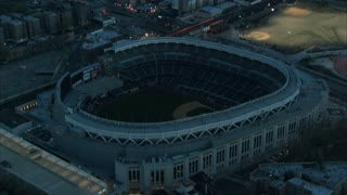 Aerial Circling Yankee Stadium at Night 3