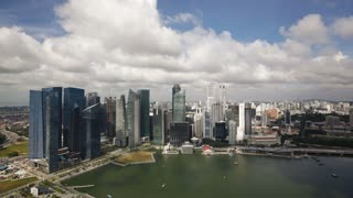Aerial cloudscape view over Central Singapore and Marina Bay, Singapore, South East Asia, Time lapse
