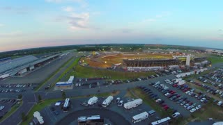 aerial drone captures stadium race event