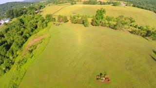 Aerial farm flyover summer