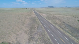 Aerial flight over Historic Route 66 high to low 2