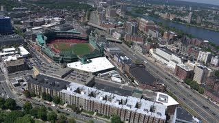 Aerial Fly Over Fenway Park, Boston, Massachusetts
