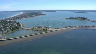Aerial Fly Over Marina And Suburban Town, Boston Harbor