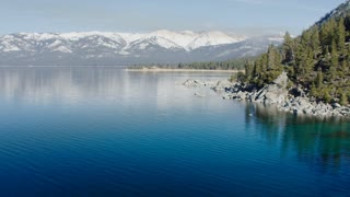 Aerial Flying Over Lake Tahoe Shoreline